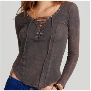 Free People Lace Up Distressed Long Sleeve Top